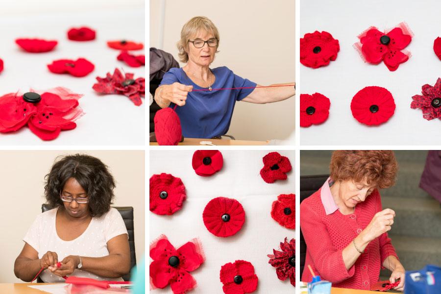 Volunteers making poppies