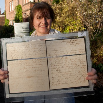 Professor Elizabeth Mason-Whitehead, with an original letter from Florence Nightingale written from the Crimea in 1856. (The image was taken in 2010, when the letter was purchased by the University for the Riverside Museum.)