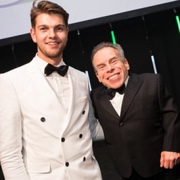 •IChemE Young Industrialist of the Year 2019 finalist, Angus Strowbridge, at the awards, with the host, Warwick Davies.