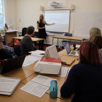 Lecturer Becki Tall teaching the first cohort of students on the MA in Dyscalculia Research and Practice.