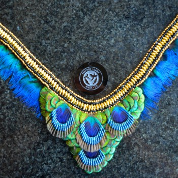 High Bird Shooting CLEOPATRA peacock feather necklace