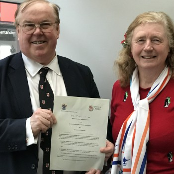 The outgoing Vice-Chancellor of the University of Chester, Professor Tim Wheeler, with Professor Cynthia Burek, representing the British Federation of Women Graduates.