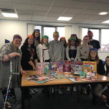 Picture of group of staff who collected the Christmas donations