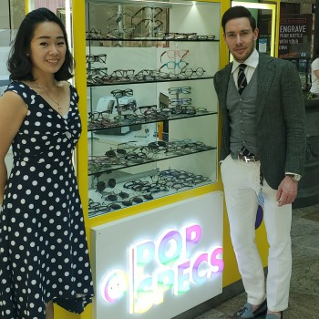University of Chester Enterprise Challenge 2021 winners, Lina Tejoprayitno and Daniel Barnes, at their Trafford Centre Pop Specs kiosk.