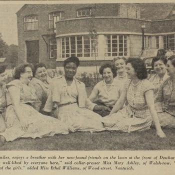 Newspaper cutting of Silors Chambers, known as Ethel, and work colleagues.