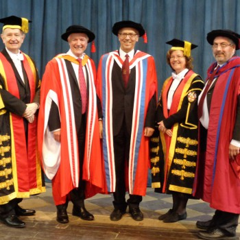Canon Dr Jeff Turnbull, President of the University Council; Lord Hall of Birkenhead; Professor Peter Excell; Professor Eunice Simmons, Vice-Chancellor; Professor Richard Day, Pro Vice Chancellor for Wrexham Glyndwr University.