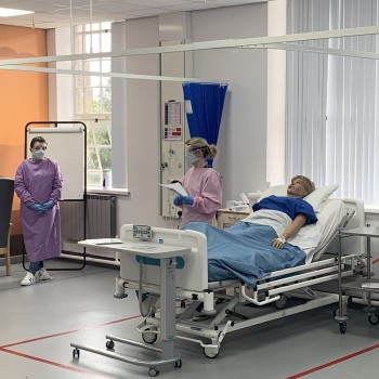 Student nurses being trained this week at the simulation suite at the University of Chester's Riverside Campus