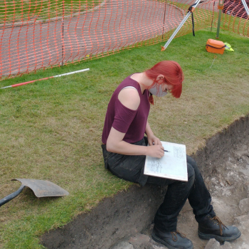 Student excavating at the Castle in Shrewsbury