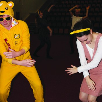 Students dancing for Children in Need