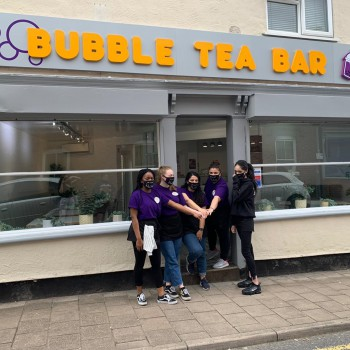 The team at Ayfer Aram's successful Bubble Tea Bar, in the Garden Quarter.