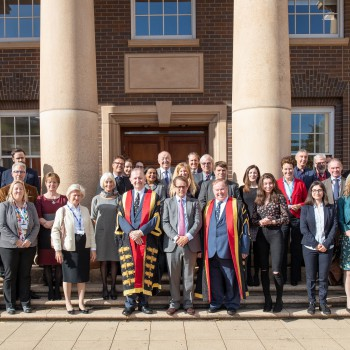 Jack Churchill (centre) with University of Chester Business School staff, students and guests.