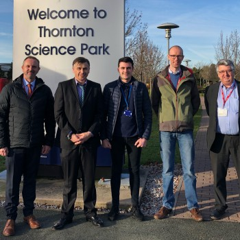 From left to right: Chris Lewis, University of Chester Apprentice Learning Mentor; Professor Steve Wilkinson, Head of Chemical Engineering at the University of Chester; Michael Leary, Unilever Degree Apprentice; Tom Gibbins, Unilever Advanced Manufacturin