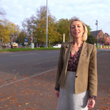Dr Hannah Ewence at the statue of Viscount Combermere