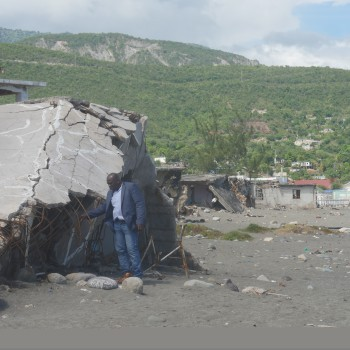 Dr Servel Miller at the Caribbean terrace community in Eastern St Andrew, where storm surges destroyed most of the houses.
