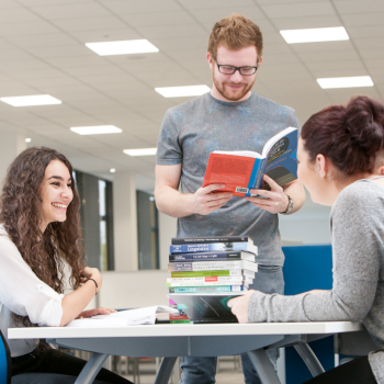 English department students in the library