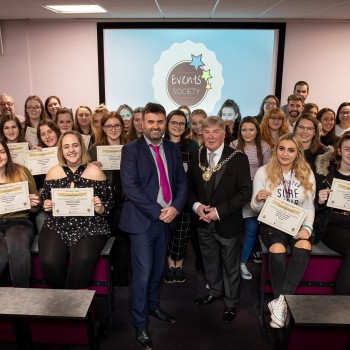 •	Councillor Stuart Parker, Sheriff of Chester and Professor Chris Jones with Events Society students.