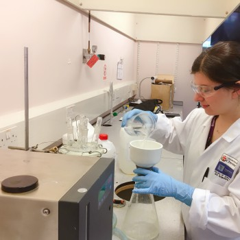 Project student Ahsen Senturk working in the labs at Thornton Science Park.