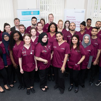 The first cohort of student Physician Associates at the University of Chester.