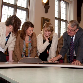 Professor Philip Alexander with University of Chester students, during a visit to Chester Cathedral.