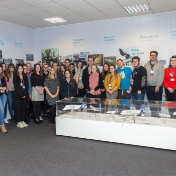 Tourism Management students and staff with Airbus staff