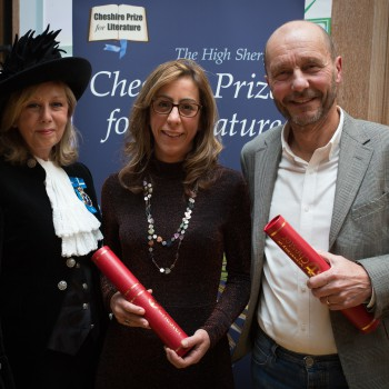 The High Sheriff of Cheshire, Alexis Redmond MBE, with last year's winners of the Cheshire Prize for Literature, Sophie Claire and Clive McWilliam.