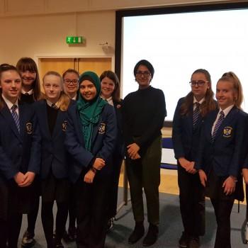 Pupils from Ysgol Rhosnesni in Wrexham with speaker, Angela Saini.