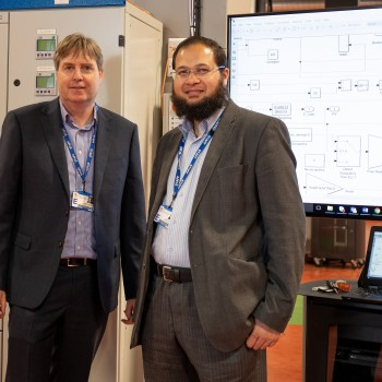 Professor John Counsell and Dr Yousaf Khalid in the Energy Centre at Thornton Science Park.