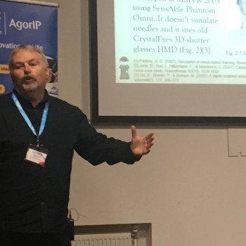 •	Professor Nigel John presents the University's research to the 'Welsh Health Gadget Hack'.