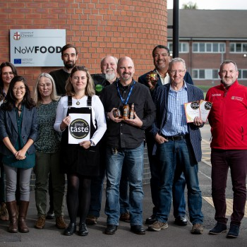 Some of the local Great Taste winners with the NoWFOOD team from the University of Chester.