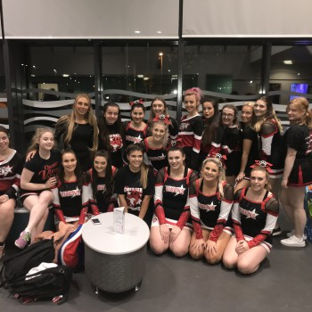 The University of Chester's cheerleading team, Chester Vixens, performing during the BBL quarter final in Ellesmere Port.