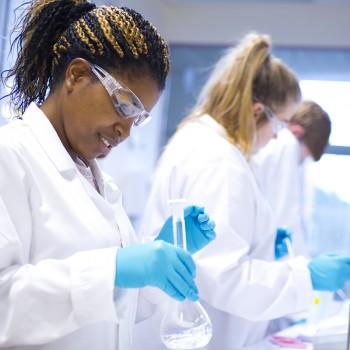 Female Student in Thornton Laboratory