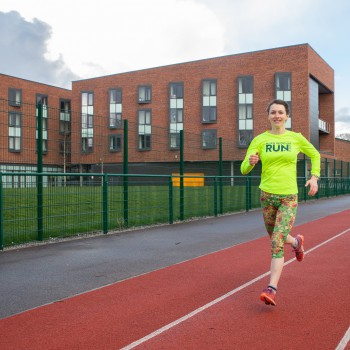 Rachel Parker on the University of Chester's running track.