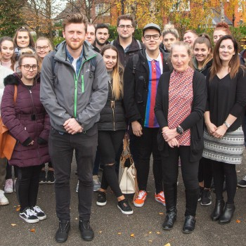 Steve Hughes, Chester Supertrees Project Coordinator, (centre) with Senior Lecturer Ann Hindley, Programme Leader Maeve Marmion, and students, all from the International Tourism Management degree at the University of Chester Business School.