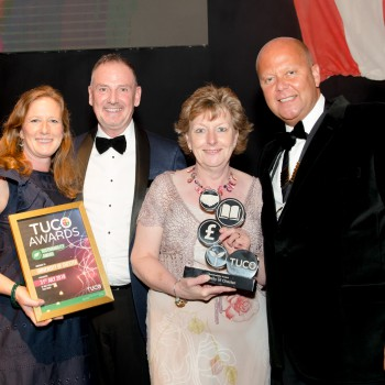 Left to right: Louise Whittaker, Bewley's Coffee; Ian White, Domestic Bursar and Director of Hospitality and Residential Services; Paula Martindale, Senior Operations Manager, Catering Services with Matthew White, TUCO Chairman
