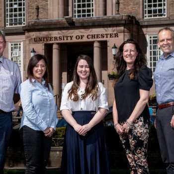 Caption: Left to right: Dr Alan Finnegan, Professor of Nursing and Military Mental Health; Dr Lisa Di Lemma, Senior Researcher; Lauren West, Administrative Assistant and PA; Lottie Ainsworth-Moore, Project Administrator for Veteran Studies and Dr David Sa