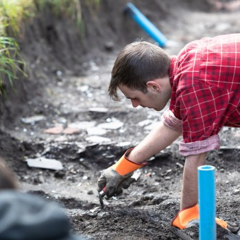 Student at archaeological excavation in Grosvenor Park
