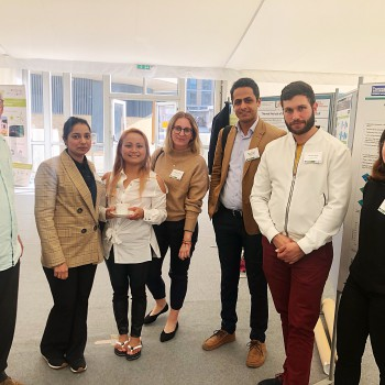 The researchers from the University of Chester at the Eco-Innovation Conference: John Morris; Mubashra Latif; Sheena Worthington; Hannah Eccleston; Mohammadali Mozafarian (Sepehr); Georgios Balia and Ahsen Senturk.