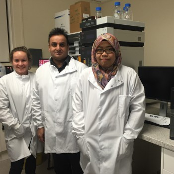 Pictured left to right at the time of the clinical trial are Graduate Assistant Ellen Freeborn, Dr Sohail Mushtaq and Dr Salma Ahmad Fuzi.