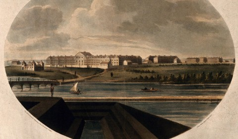 Royal Hospital, Haslar, near Portsmouth: view from right. Coloured aquatint with etching by J. Wells, 1799, after J. Hall.. Credit: Wellcome Collection. Public Domain Mark