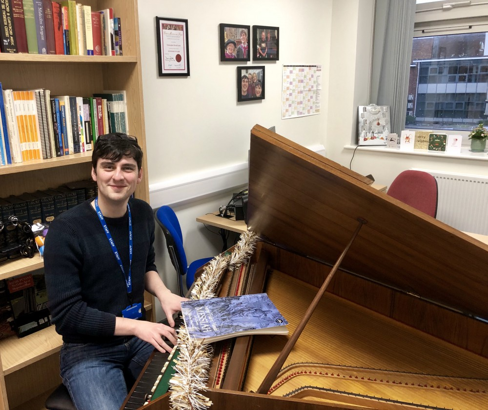 Dr Christopher Lewis at his harpsichord