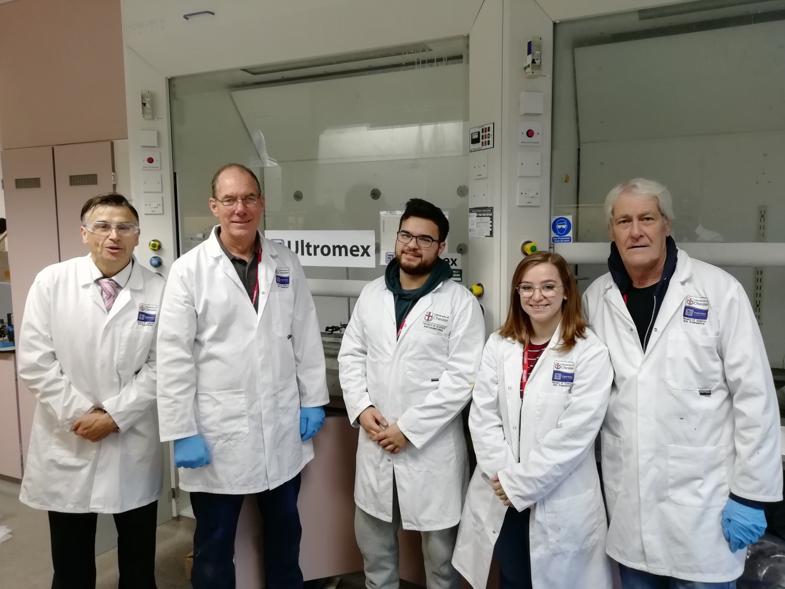 Professor Steve Wilkinson, Head of Chemical Engineering, University of Chester; Tim Smith, Projects Engineer, Ultromex; Dion Noorani; Emily Ratcliffe, Analytical Chemist, Ultromex; Chris Evans, Analytical Chemist, Ultromex.