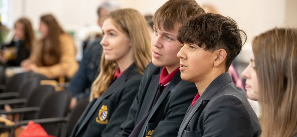 Pupils from Malbank School and Sixth Form in Nantwich taking part in the symposium.