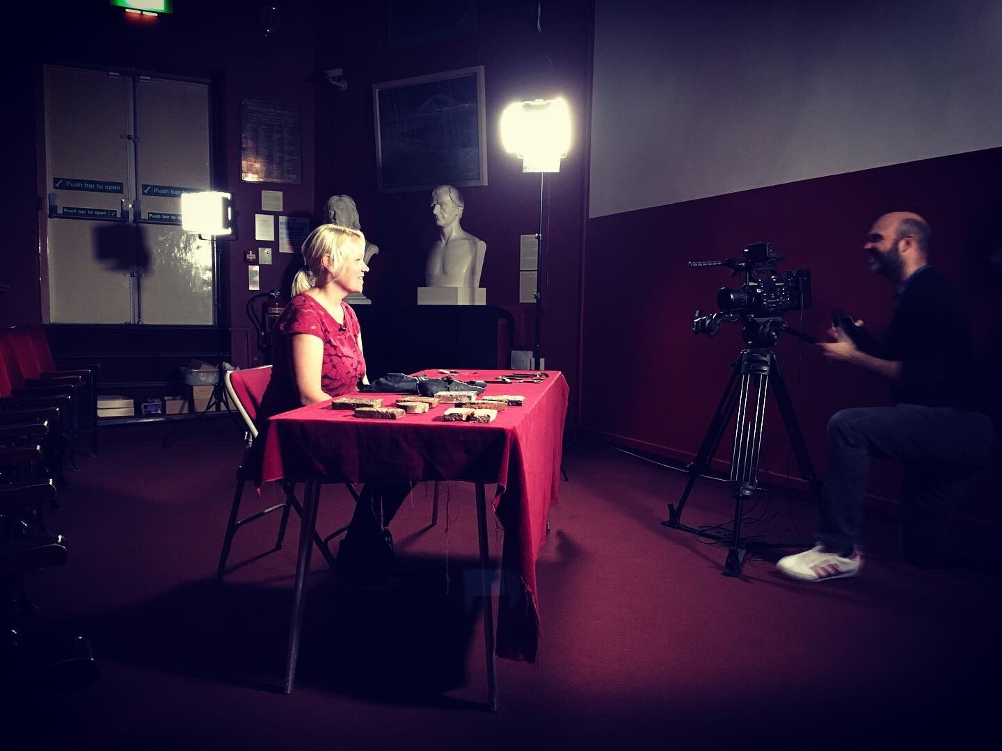 Elizabeth Montgomery, Collections and Interpretation Officer of the Grosvenor Museum, Chester, being filmed for the series (prior to lockdown).