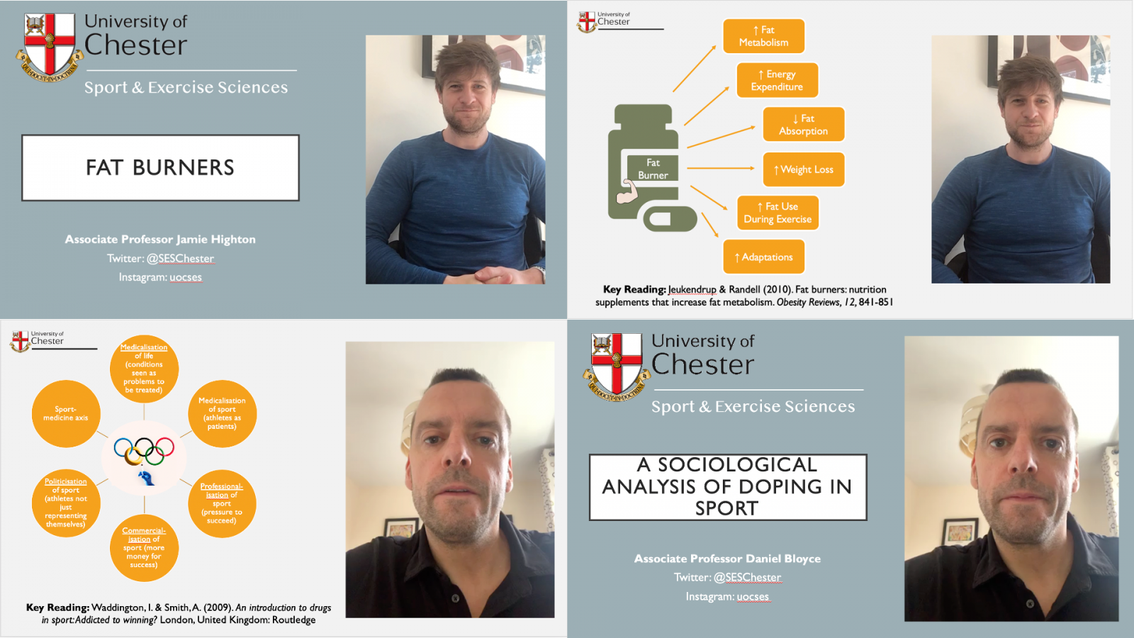 Lecturers from the Department of Sport and Exercise Sciences at the University of Chester have developed a series of online pocket lectures.