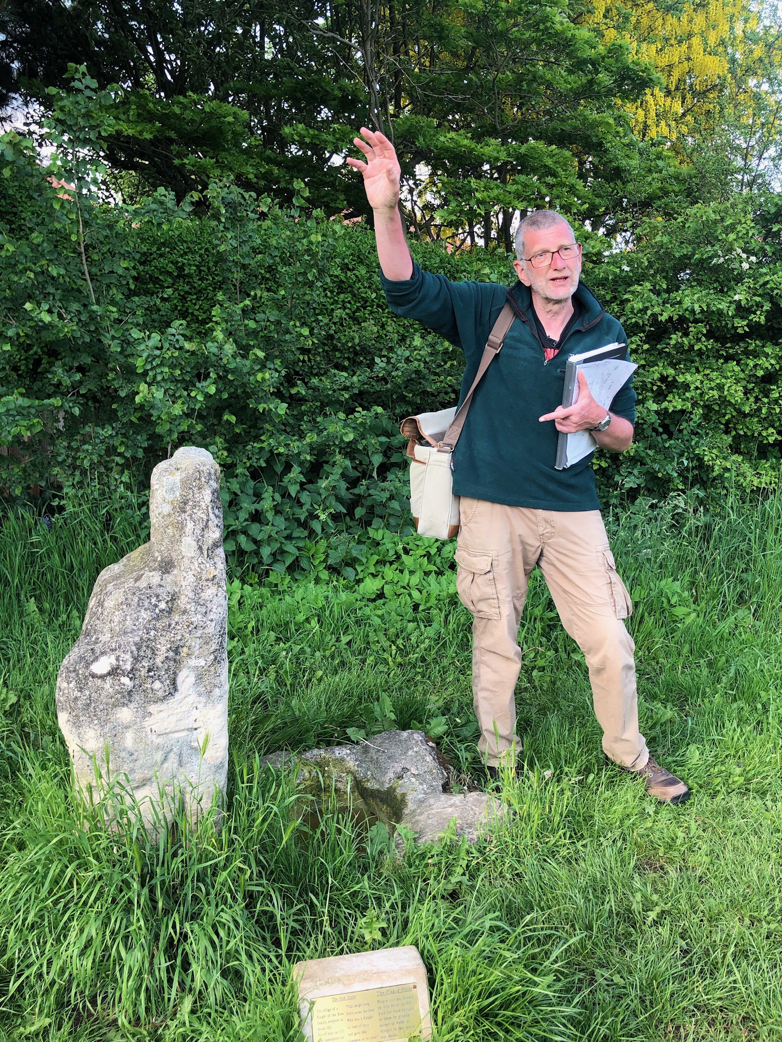 Prof Stewart Ainsworth at the Hob Stone in York during the filming of the My Place in Time short film.