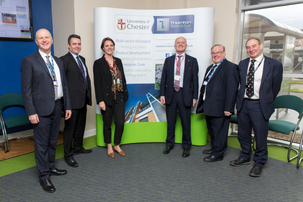 Left to right: Professor Joe Howe, Paul Vernon (both University of Chester), Rita Wadey, Professor John Loughhead (both BEIS), Vice-Chancellor Professor Tim Wheeler and Garfield Southall (University of Chester).