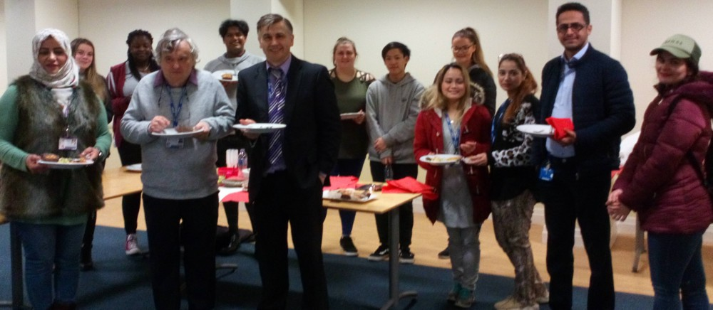 Students and staff at Thornton Science Park celebrating the third international Festival of Food.