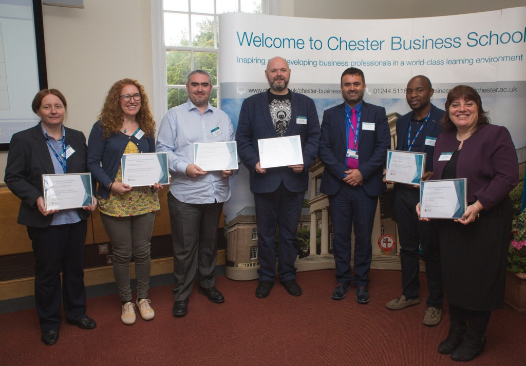 Group Award Winners with Professor. Chris Jones, Dean of Faculty of Business & Management