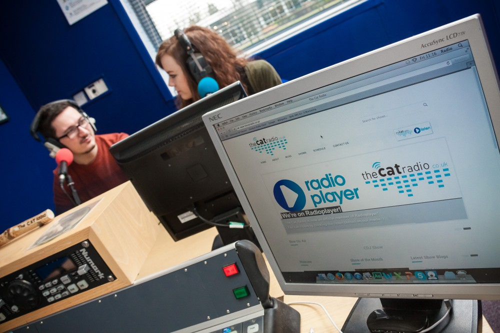 Students in The Cat Radio Studio