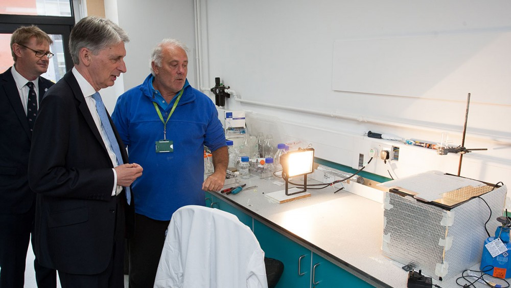 Nick showcasing his business to Philip Hammond, Chancellor of the Exchequer
